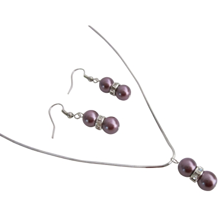 Pageant Prom Burgundy Pearls Jewelry Necklace Earrings Set