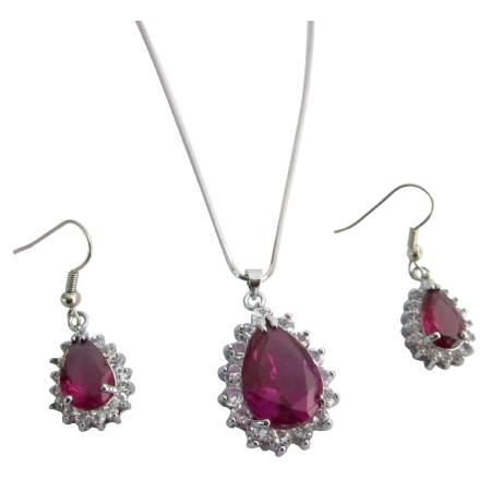 Xmas Gifts Fuchsia Pendant Earrings Set Holiday Gifts Sale Price