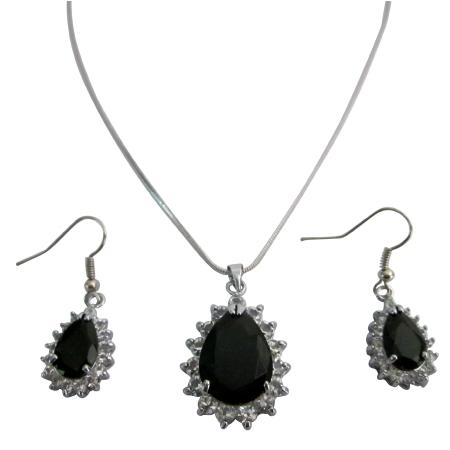 Chic Cool Inexpensive Pendant Earrings Set Onyx Stone Jewelry Set