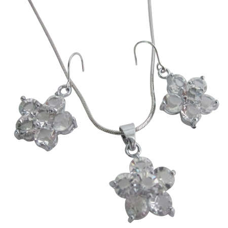 Flower Pendant Earrings Clear Crystals Flower Pendant Earrings Set