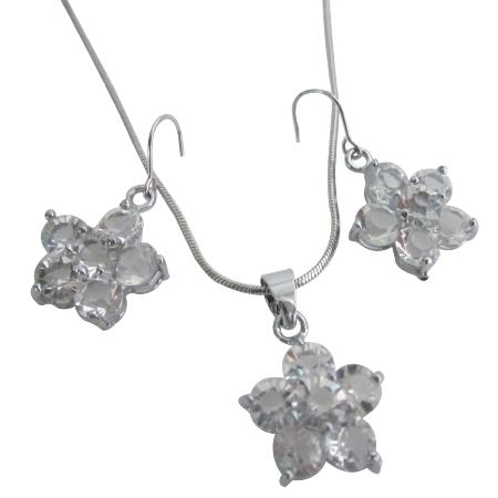 Flower Pendant Earrings Clear Crystals Flower Pendant Earrings Set