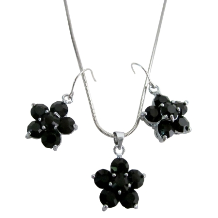 Outstanding Jewelry Onyx Crystal Flower Pendant Earrings Girl Friend Gift