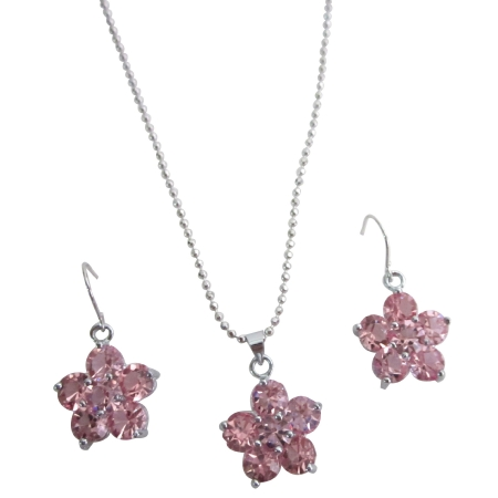 Cute Delicate Flower Jewelry Set Rose Crystal Flower Pendant Earrings Set