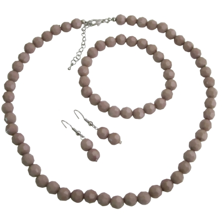 Wedding Jewelry Mocha Color Mocha Beads Jewelry Set