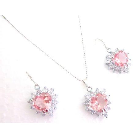 Girls Jewelry Rose Heart Pendant Earrings Set