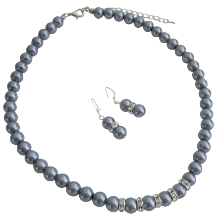 Wedding Favors Jewelry Gray Pearls Silver Rondells Necklace Earrings