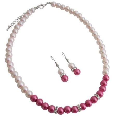 Sizzle Jewelry Ivory Pink w/ Hot Pink Necklace Set w/ Diamante Spacer
