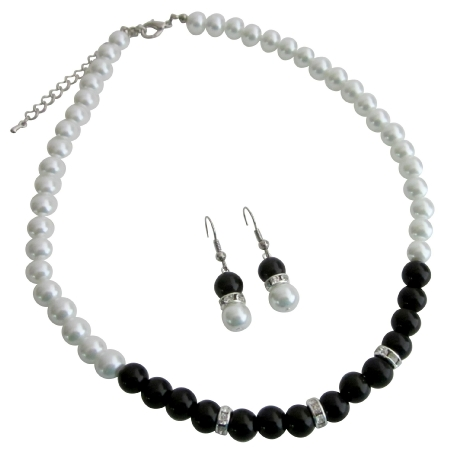 Unique Fashionable Jewelry White Black Pearls Sophisticate Jewelry Set
