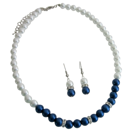 Admirable Remarkable BridesmaidJewelry Dark Blue Pearls with White Pearls