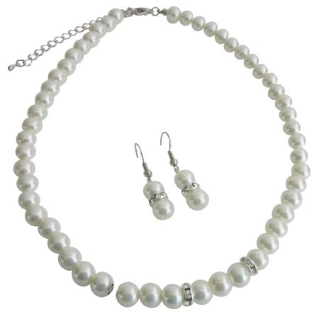 Bridal Jewelry Matron of Honor Ivory Pearls w/ Diamond Like Spacer