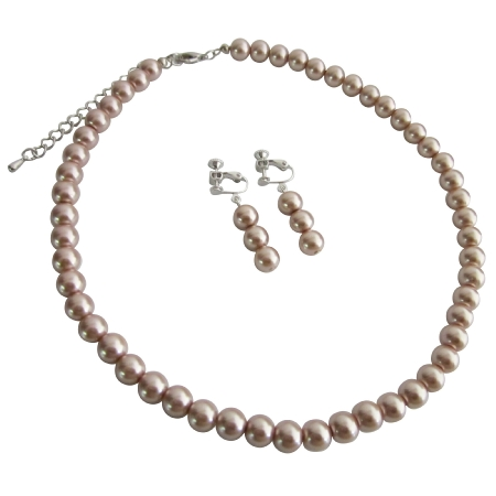 Girls Non Pierced Clip on Earrings Necklace Jewelry Set