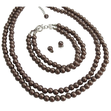 Stylish Trendy Mocha Jewelry Two Stranded Necklace Bracelet And Stud Earrings