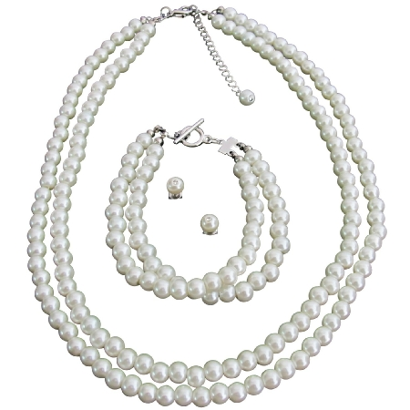 Ivory Pearls Wonderful Gift Complete Jewelry Necklace Set