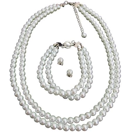 Bridal Wedding Jewelry Set White Pearls Complete Set