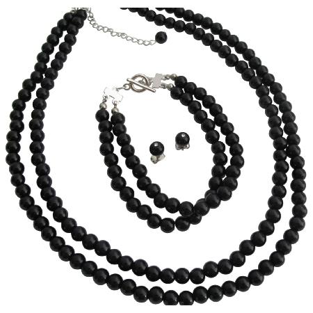 Two Strand Necklace Bracelet Stud Earrings Set In Black Pearls