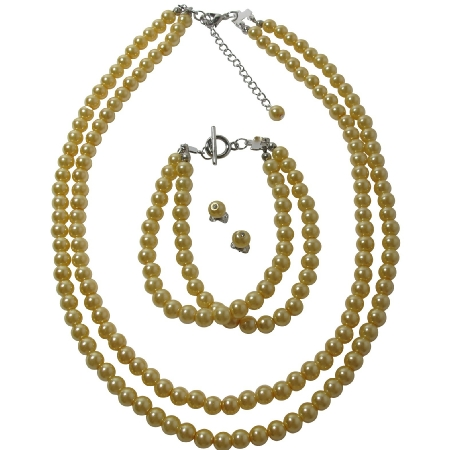 Affordable Bridesmaid Complete Jewelry Set In Yellow Pearls