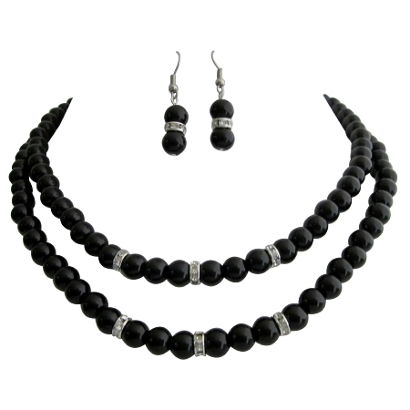 Timeless Elegant Black Pearl Double Stranded Necklace Set Rhinestones Spacer