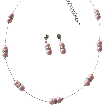 Dainty Pink Pearl Floating In Illusion Cute Necklace Earrings Set