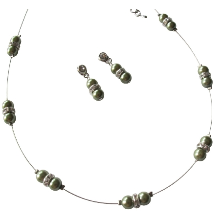 Floating Illusion Necklace Green Pearl Earrings Bridesmaid Jewelry