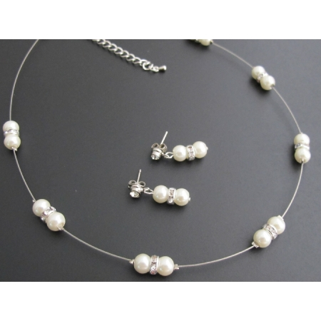 Ivory Pearl Rhinestones Perfect for Brides Or Bridesmaid Jewelry Set
