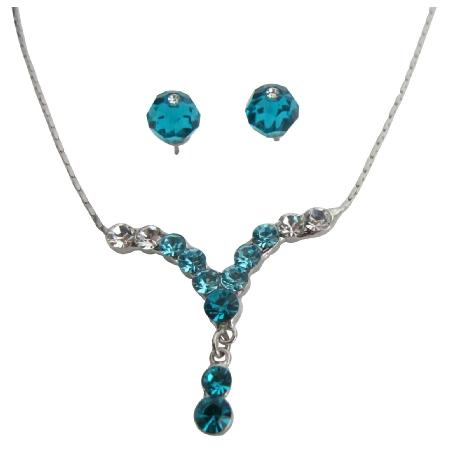 Prom Or Graduation Party Dazzling Blue Zircon Crystal Necklace Set