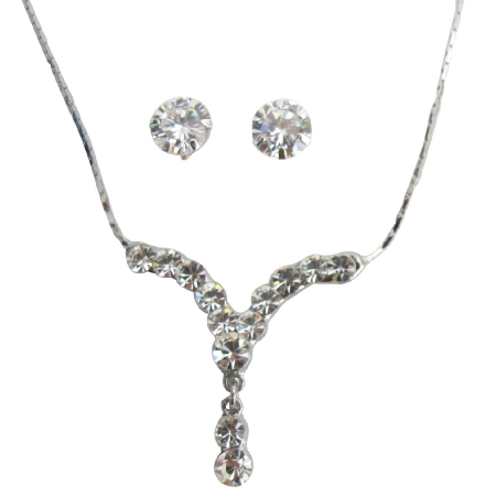 Silver Plated Sparkling Crystal Clear Necklace with Stud Earrings