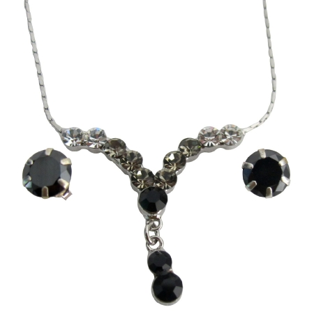 Black Crystal Jewelry Set Birthday Gift Sparkling Crystal Set