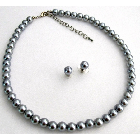 Silver Gray Pearls Necklace Set Wedding Occasion Jewelry