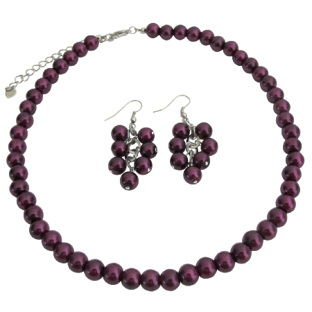 Elegant Striking Dark Puprle Pearl Necklace with Dangling Earrings