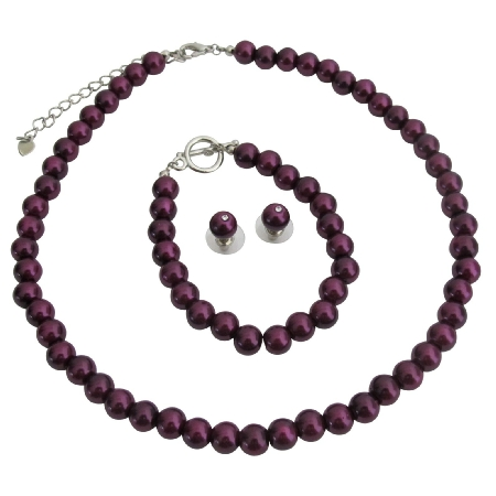 Dark Purple Pearl Jewelry Perfect Complement For Bridemaid Jewelry