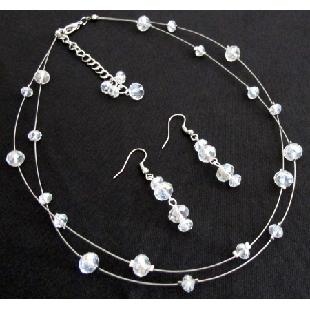 Bridal Bridesmaid AB Crystals Glass Beads Floating Necklace Earrings