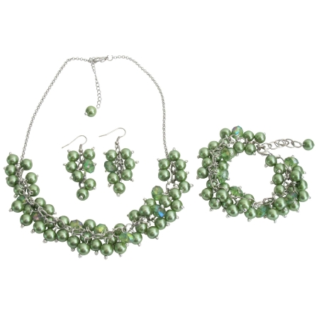 Wedding Pearl Necklace Beaded Chunky Jewelry Kelly Green Pearls Glamorous Gift