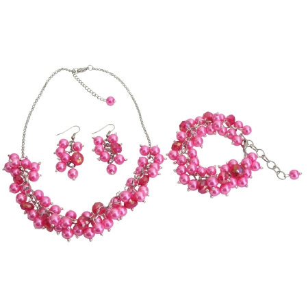 Wedding Pearl Necklace Beaded Chunky Jewelry Hot Pink Pearls Glamorous Gift