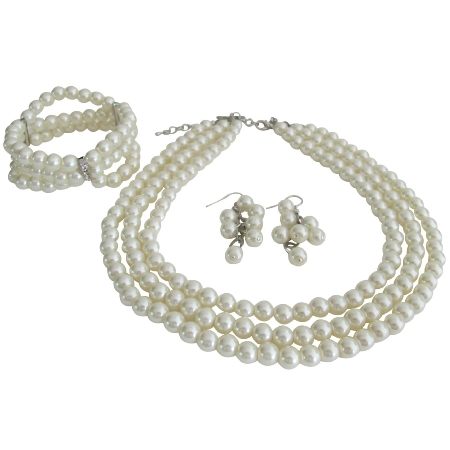 Bridal Three Strand Necklace Bracelet Earrings Jewelry Set Simple Elegant