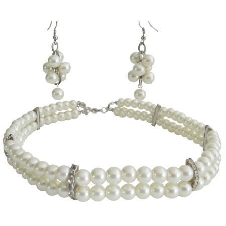 Classic Splendid Double Stranded Wedding Necklace with Grape Bunch Earrings