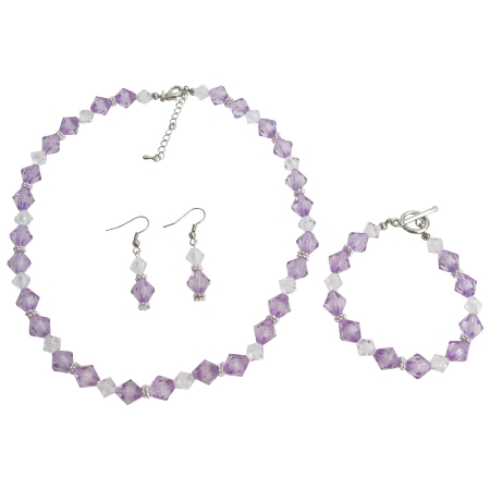 Lilac Clear Crystal Bridesmaid Flower Girl Jewelry Necklace Set