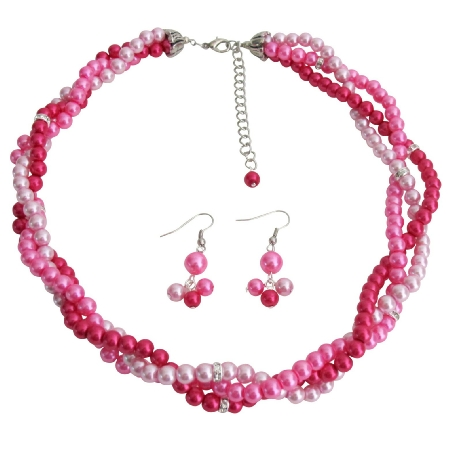 Fuchsia Magenta Hot Pink Twisted Statement Three Strand Necklace Set