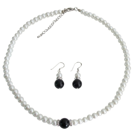 Special Pre Wedding Gift Flower Girl White Black Pearl Jewelry Set