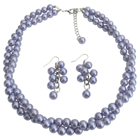 Double Strand Lilac Purple Pearls Twisted Necklace Grape Earrings Appealing Jewelry