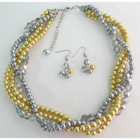 Yellow Gray Pearls Twisted Necklace Earrings Wedding Bridesmaid Necklace Bridal Gift