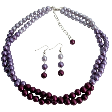 Pretty Purple Jewelry Set In Gorgeous Colors Plum Purple Lilac Twisted Double Strands Necklace Earrings Set