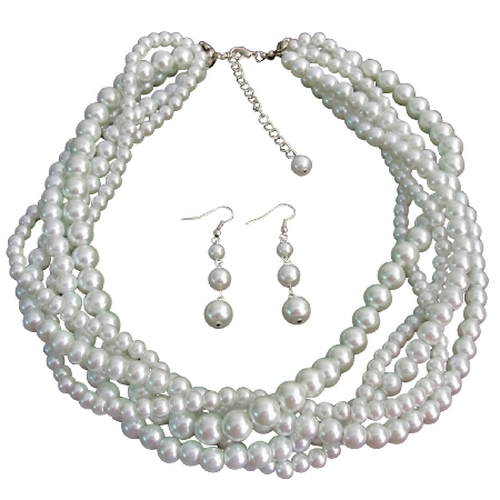 White Five Strand Braided Twisted Necklace with Dangling Earrings Bridal Jewelry Set