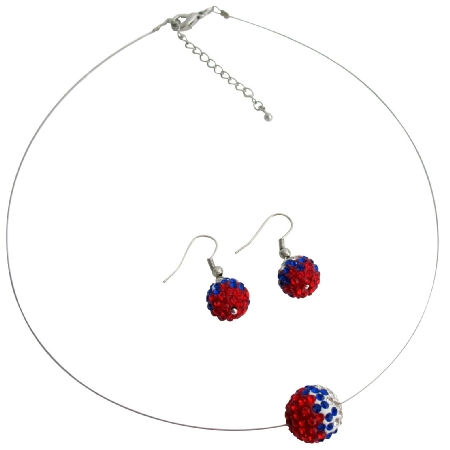 American Nation Flag Pave Ball Crystals Embedded In Colors Red White Blue Pendant Earrings Set