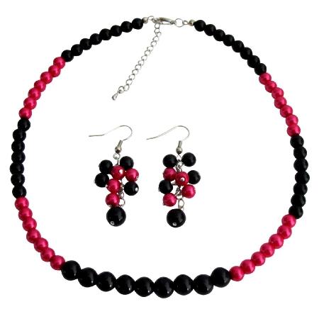 Fascinate Wedding Jewelry In Magenta Black Pearl with Grape Earrings Set