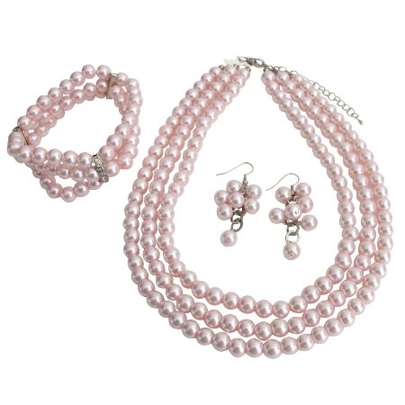 Best Bridal Jewelry Pink Pearls Three Strands Necklace Bracelet Grape Earrings Bridal Jewelry Set