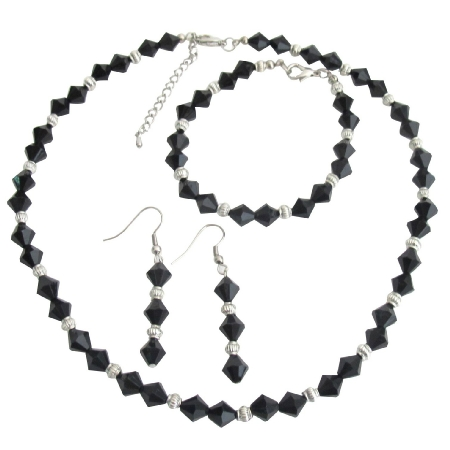 Crystal Jewelry Set Black Crystals Glass Beads Complete Wedding Jewelry