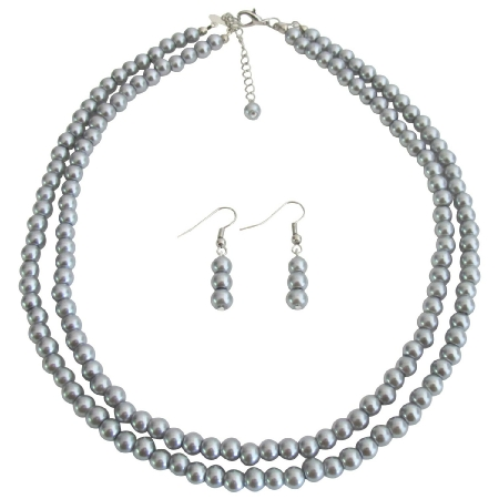 Bridal Pearl Jewelry Set Lite Gray Double Strand Earrings Set