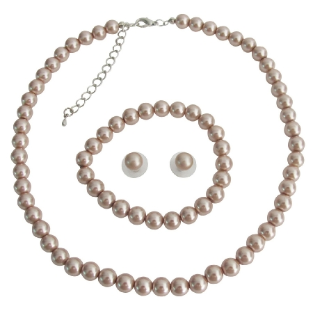 Traditional Modern Vintage Inspired Complete Wedding Jewelry In Champagne Pearls