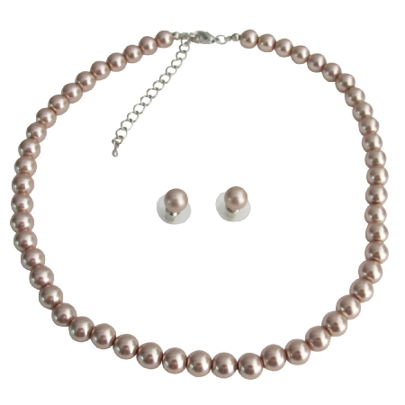 Single Strand Pearl Necklace Stud Earrings Bridesmaid Bridal Champagne Pearls Jewelry