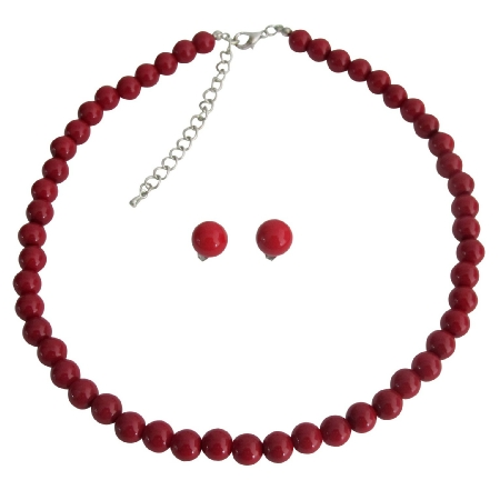 Specialize Handcrafted Custom Jewelry Single Strand Red Pearl Necklace Stud Earrings Bridal Party Jewelry